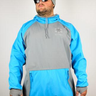 IceSkull Ezy Rider Snowboard Softshell Technical Hoodie Grey & Sky Blue
