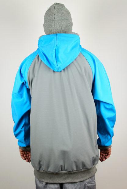 IceSkull Ezy Rider Snowboard Softshell Technical Hoodie Grey & Sky Blue Back