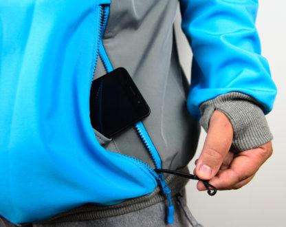 IceSkull Ezy Rider Snowboard Softshell Technical Hoodie Grey & Sky Blue Media Pockets