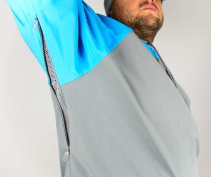 IceSkull Ezy Rider Snowboard Softshell Technical Hoodie Grey & Sky Blue Armpit Vents