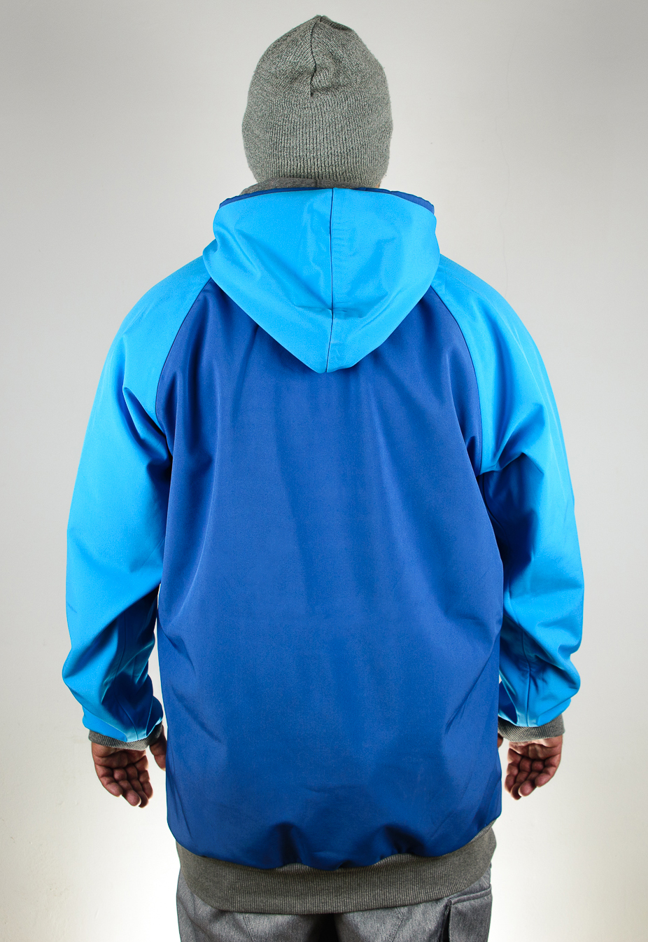 IceSkull Ezy Rider Snowboard Softshell Technical Hoodie Blue & Sky Blue Back