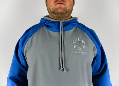 IceSkull Ezy Rider Snowboard Softshell Technical Hoodie Gray & Blue Logo