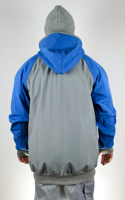 IceSkull Ezy Rider Snowboard Softshell Technical Hoodie Gray & Blue Back