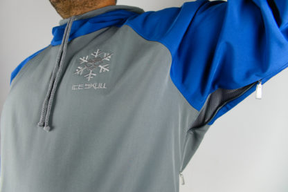 IceSkull Ezy Rider Snowboard Softshell Technical Hoodie Gray & Blue Armpit Vents