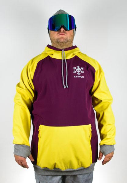 IceSkull Ezy Rider Snowboard Softshell Technical Hoodie Maroon & Yellow