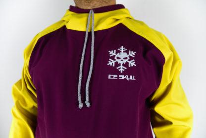 IceSkull Ezy Rider Snowboard Softshell Technical Hoodie Maroon & Yellow Logo