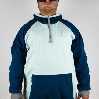 IceSkull Ezy Rider Snowboard Softshell Technical Hoodie Mint & Navy Blue