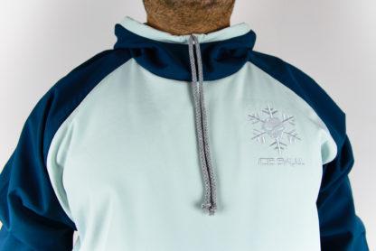 IceSkull Ezy Rider Snowboard Softshell Technical Hoodie Mint & Navy Blue Logo