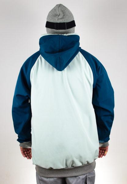 IceSkull Ezy Rider Snowboard Softshell Technical Hoodie Mint & Navy Blue Back