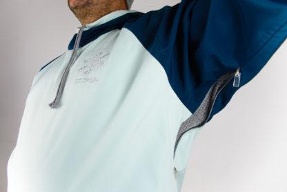IceSkull Ezy Rider Snowboard Softshell Technical Hoodie Mint & Navy Blue Armpit Vents