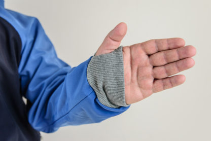 IceSkull Ezy Rider Snowboard Softshell Technical Hoodie Navy & Blue Thumb Cuffs