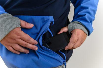 IceSkull Ezy Rider Snowboard Softshell Technical Hoodie Navy & Blue Media Pockets