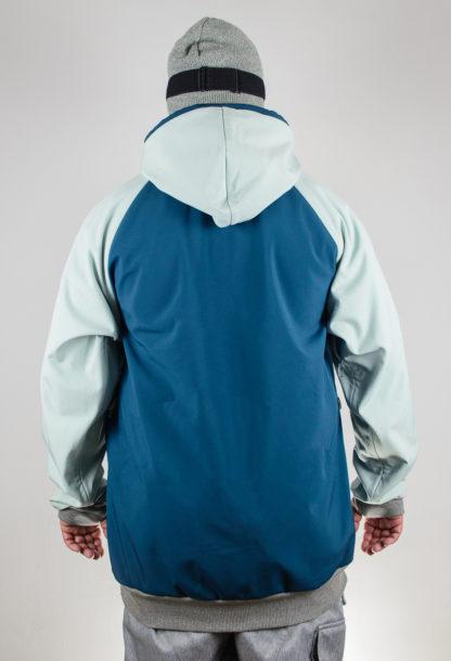 IceSkull Ezy Rider Snowboard Softshell Technical Hoodie Sea Blue & Mint Back