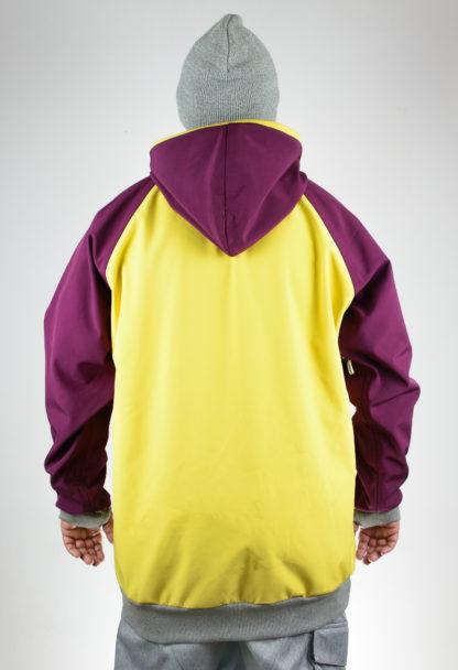 IceSkull Ezy Rider Snowboard Softshell Technical Hoodie Yellow & Maroon Back