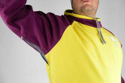 IceSkull Ezy Rider Snowboard Softshell Technical Hoodie Yellow & Maroon Armpit Vents