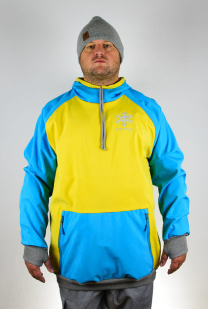 IceSkull Ezy Rider Snowboard Softshell Technical Hoodie Yellow & Sky Blue