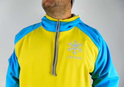 IceSkull Ezy Rider Snowboard Softshell Technical Hoodie Yellow & Sky Blue Logo