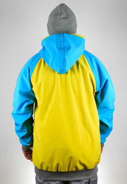 IceSkull Ezy Rider Snowboard Softshell Technical Hoodie Yellow & Sky Blue Back