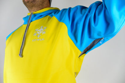 IceSkull Ezy Rider Snowboard Softshell Technical Hoodie Yellow & Sky Blue Armpit Vents